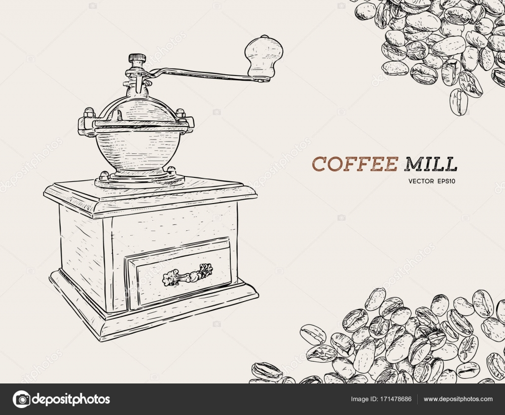 Vintage coffee grinder. Hand drawn sketch style.Coffee