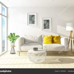 Scandinavian Living Room Furniture Gray Yellow Modern Sofa Lamp Interior Design Render Stock Photo