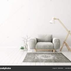 Living Room Arm Chair Stylish Modern Rooms Armchair Lamp Scandinavian Interior Design Furniture Stock Photo