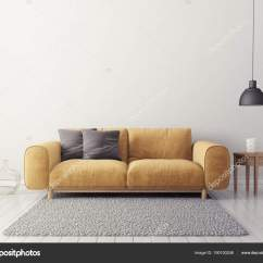 Contemporary Living Room Colors Gray Ideas Modern Yellow Sofa Scandinavian Interior Design Furniture Render Stock Photo
