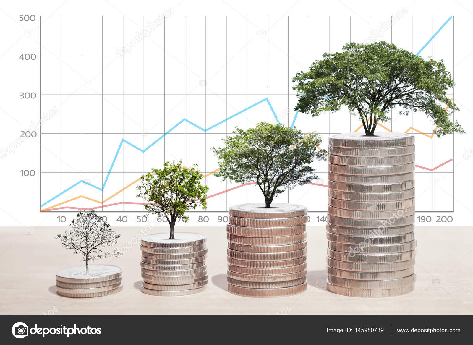hight resolution of concept of money tree growing from coins business graph background saving money economy investment and saving concept photo by aioonrak gmail com