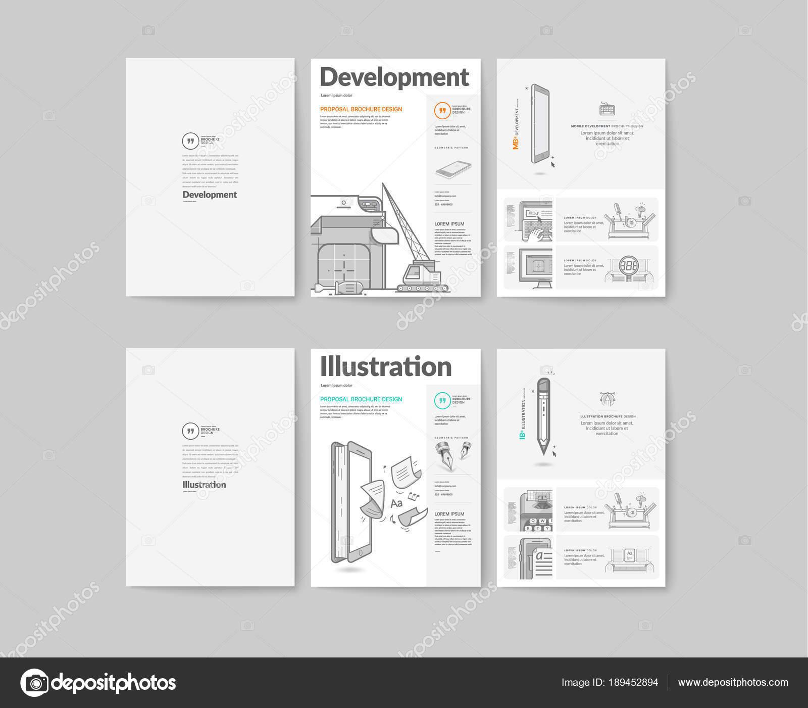 Bifold Brochure Collection Concept Icons Stock Vector Rh Depositphotos Com Brochure  Examples Brochure Examples