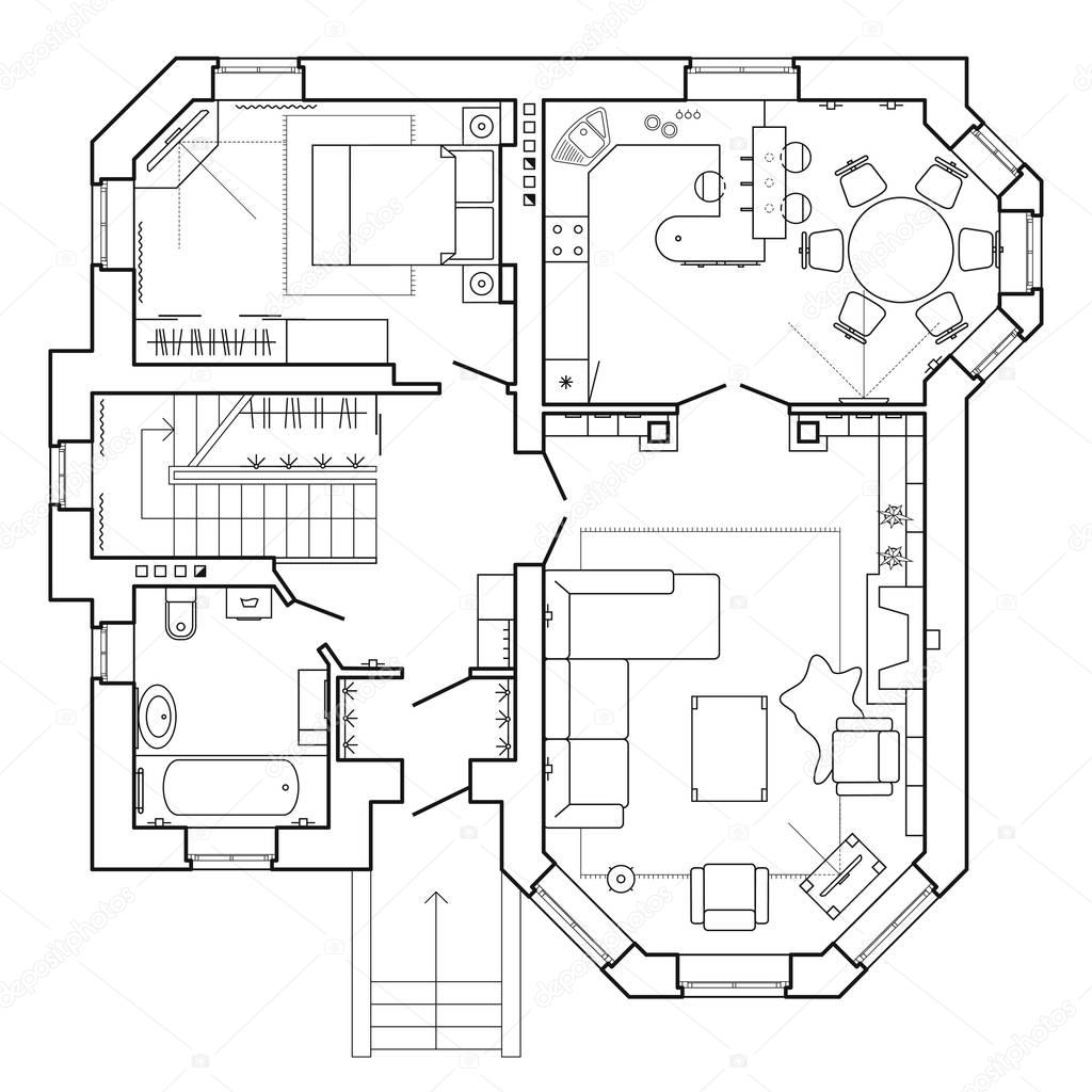 Zwart Wit Architectonische Plan Van Een Huis Indeling Van