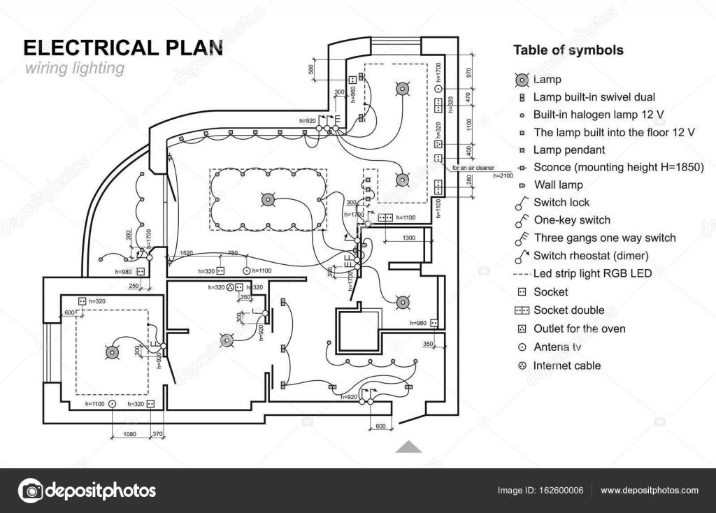 Verdrahtung Beleuchtung zu planen. Elektrischer Schaltplan