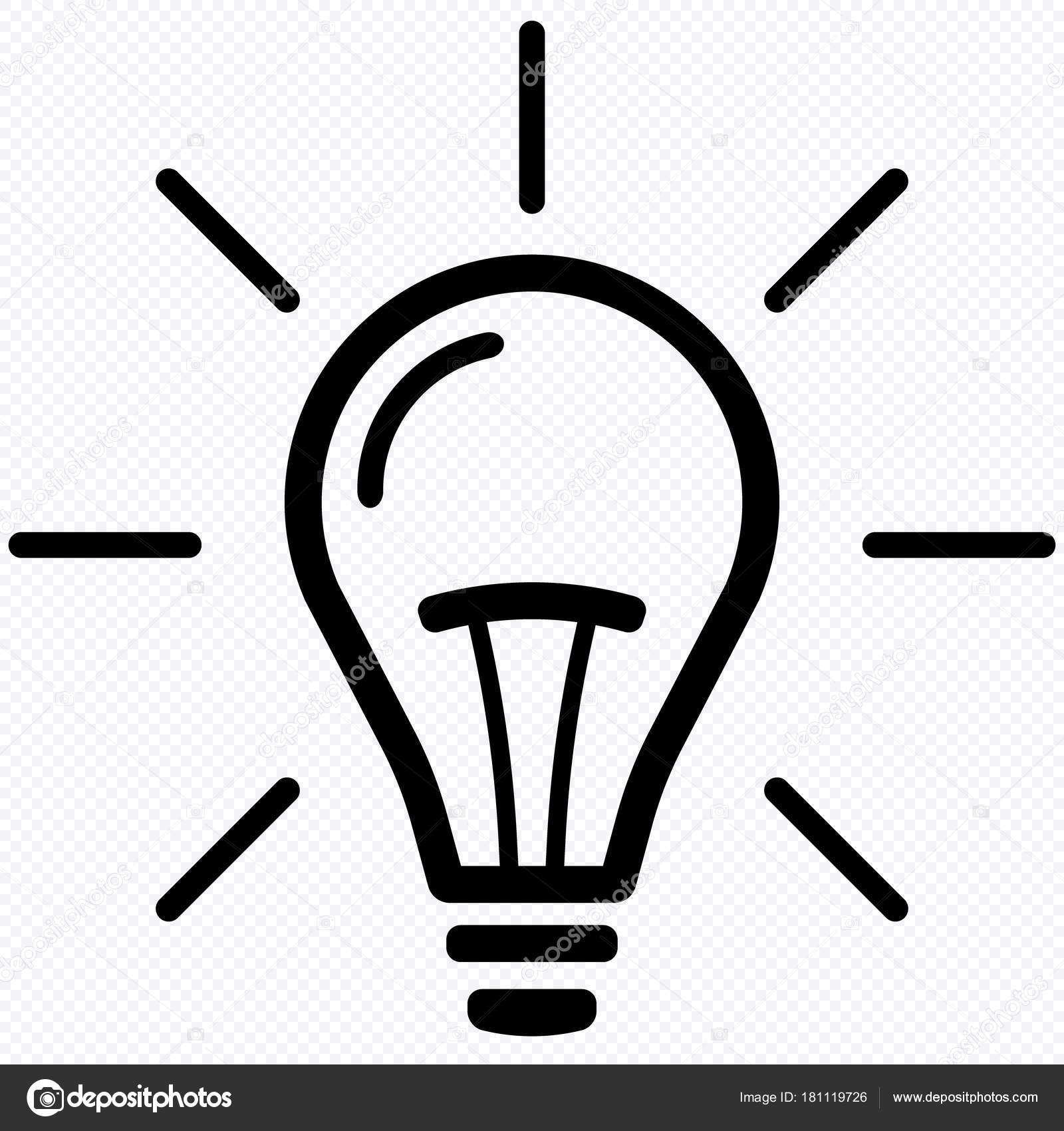 Light Bulb Line Icon Vector Isolated White Background Idea