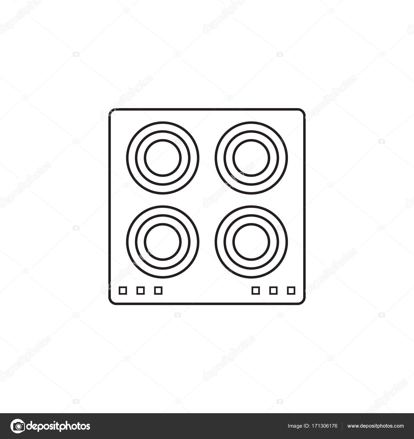 Electric hot plate icon, cooking panel — Stock Vector