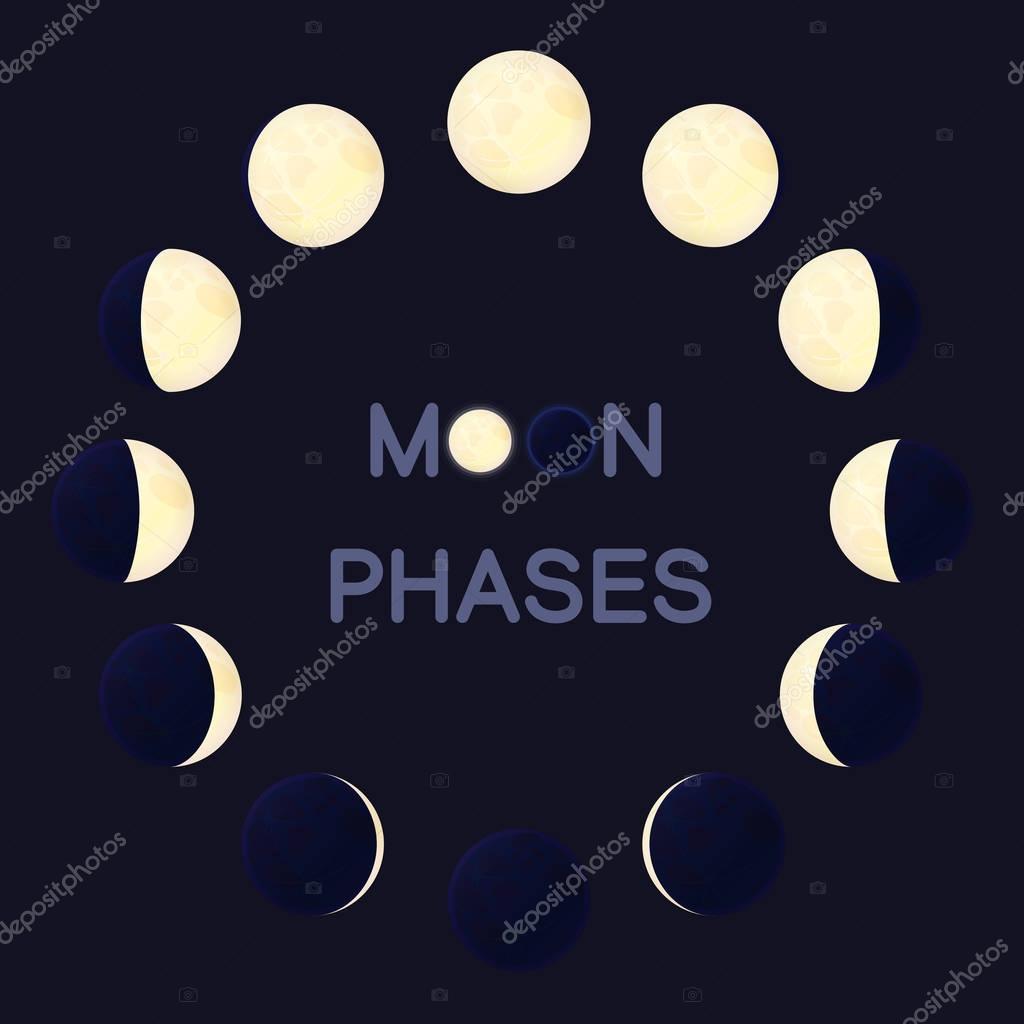 Fasi di luna quadrato su sfondo scuro  Vettoriali Stock  Vetra_Kori 147971517