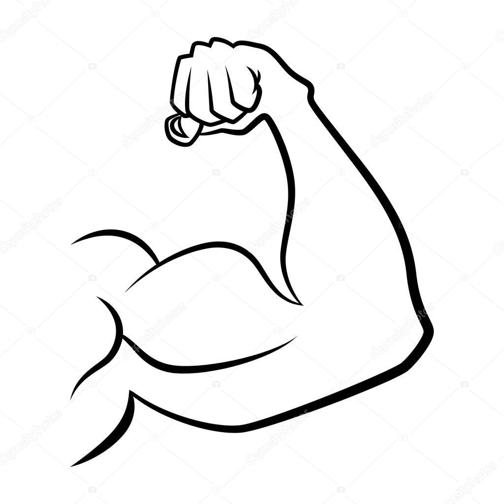 Strong Hand With Muscles Vector Handdrawn Icon
