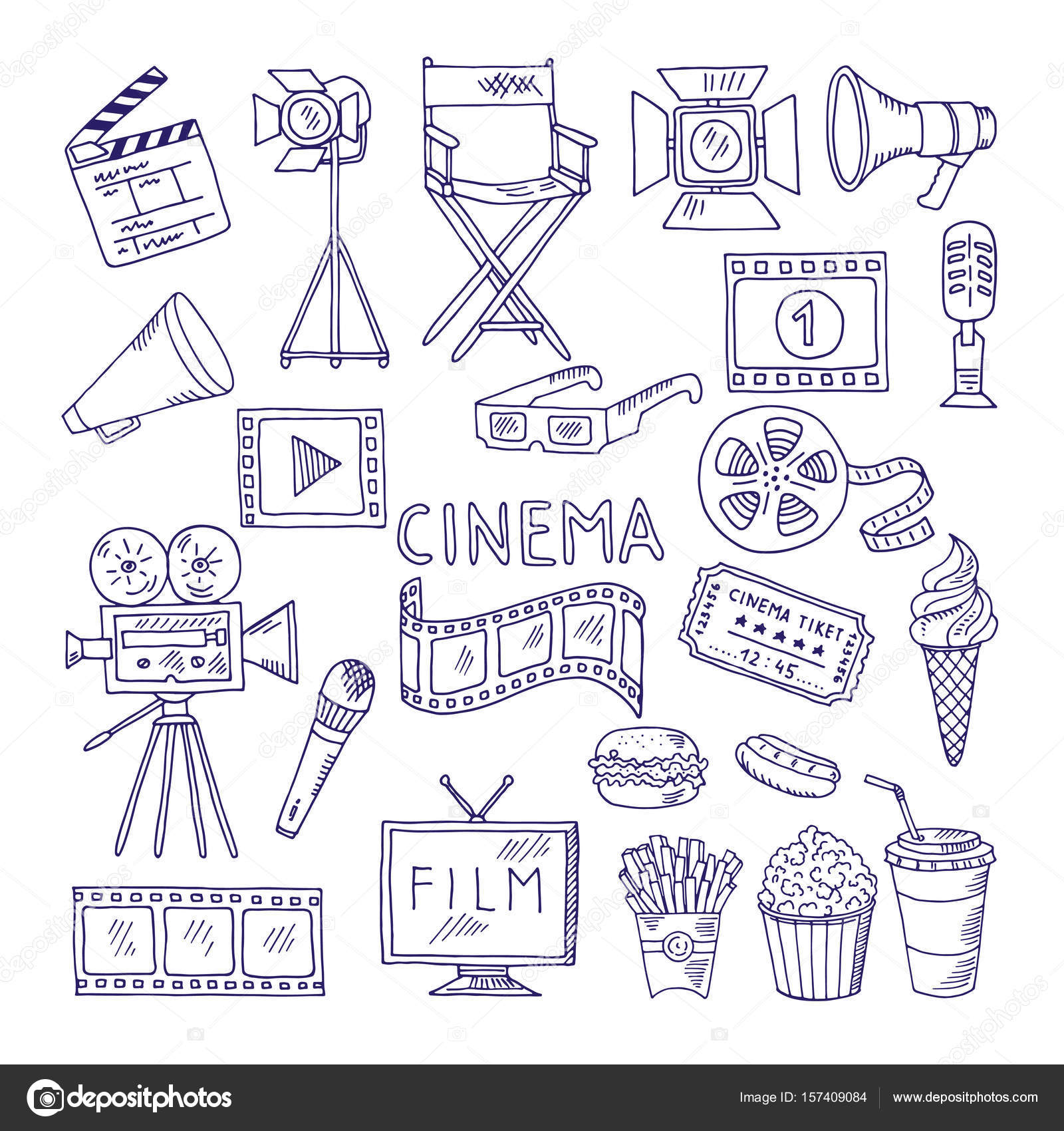 hight resolution of cinematography doodle set video movie entertainment icons stock illustration
