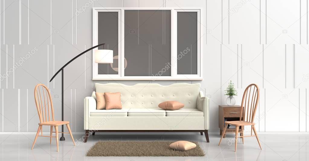 Camera arredata con divano panna albero in vaso di vetro
