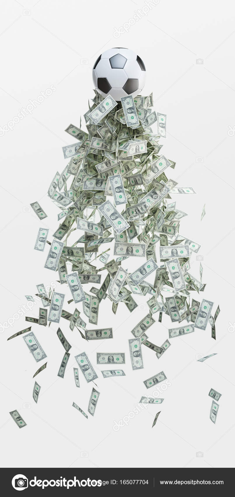 L Argent Dans Le Football : argent, football, Football, Argent,, Ballon, L'argent,, Affaires,, Illustration, Rendu, Image, Libre, Droit, DecaStock, #165077704