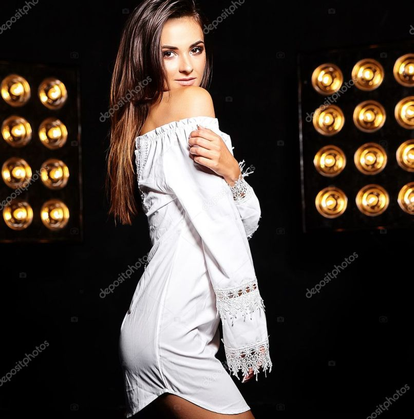 acc48e4fb99 Beautiful Girl Model In Summer White Dress With Bright Creative