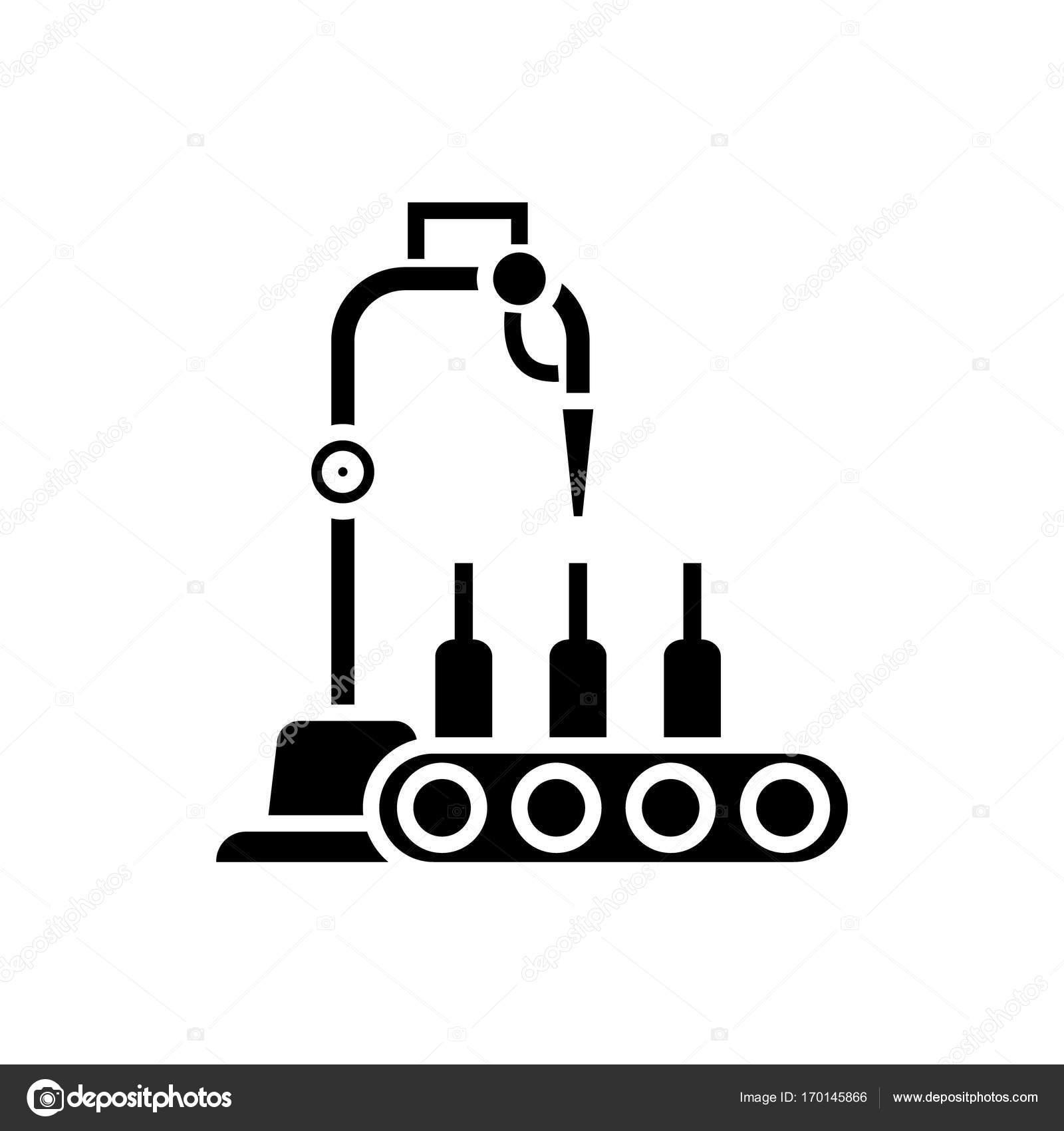 Bottling Line Icon Vector Illustration Black Sign On