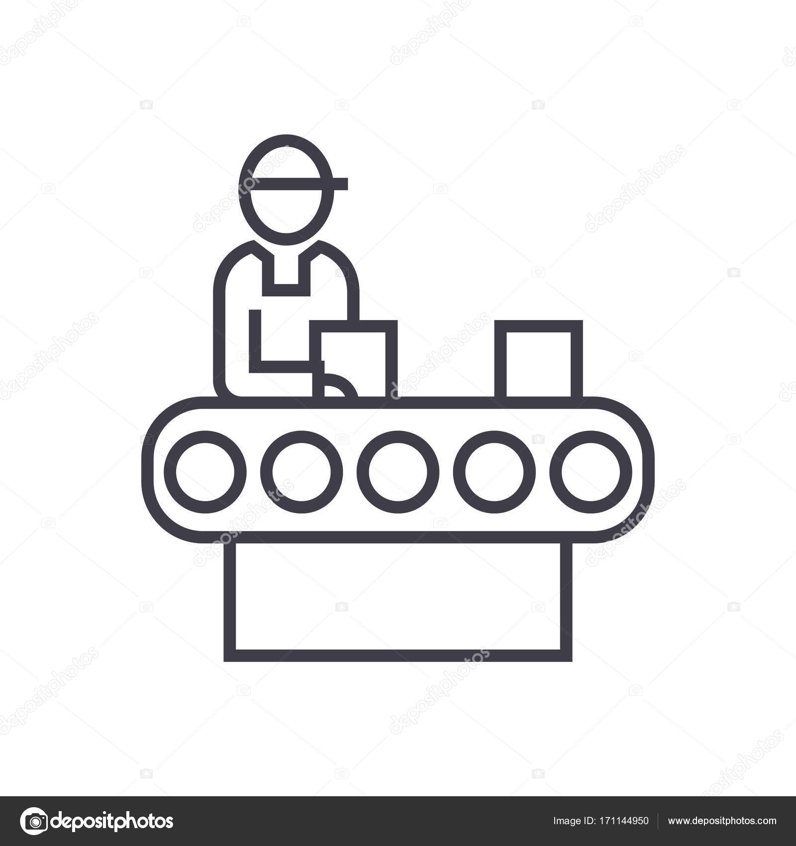 Assembly Conveyor Concept Vector Thin Line Icon Symbol