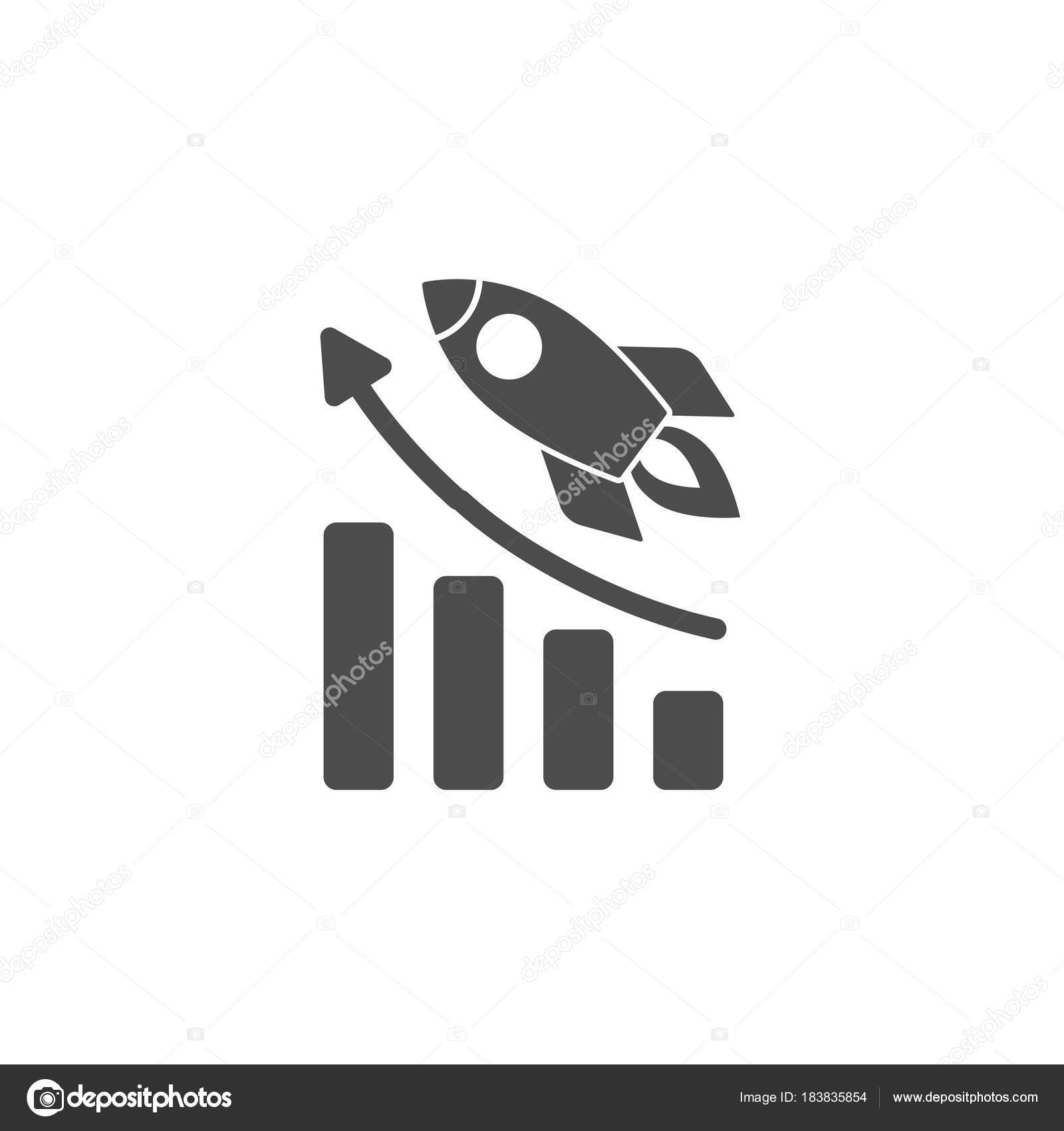 real rocket ship diagram big tex trailer 7 pin wiring black with fire and growth isolated on white flat icon vector illustration flying project start up sign