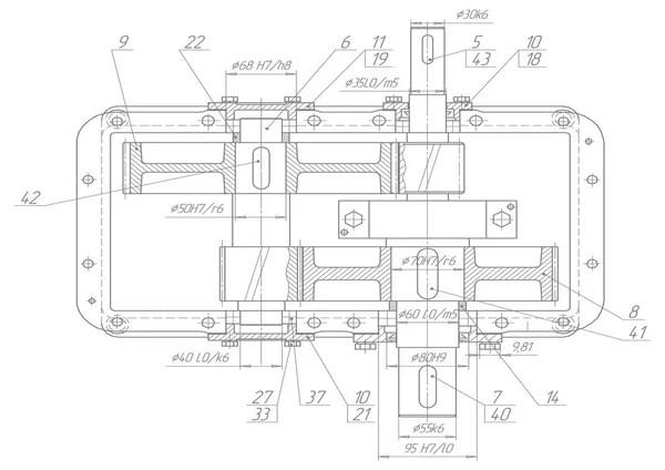 Maskin-byggnaden ritning. nyckel hydrauliska. vektor