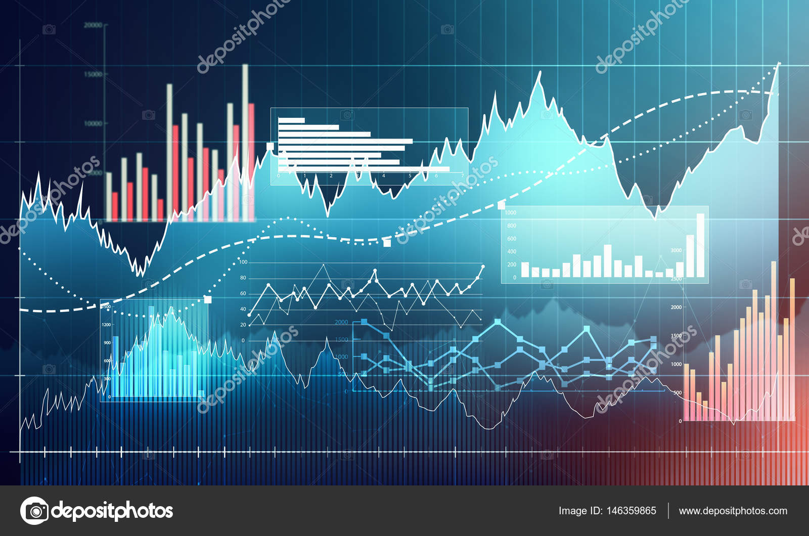 hight resolution of abstract business chart with uptrend line graph bar chart and diagram in bull market on dark blue background photo by evorona