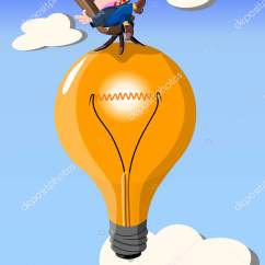 Chair Stands On Lifts For Home Funny Man Sits Light Bulb Vector Illustration Stock In A That By Rosa Sto