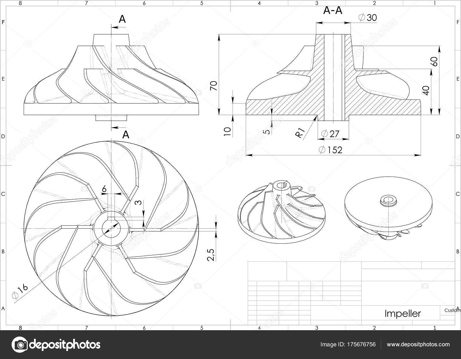 Illustration Turbo Impeller Engineering Drawing