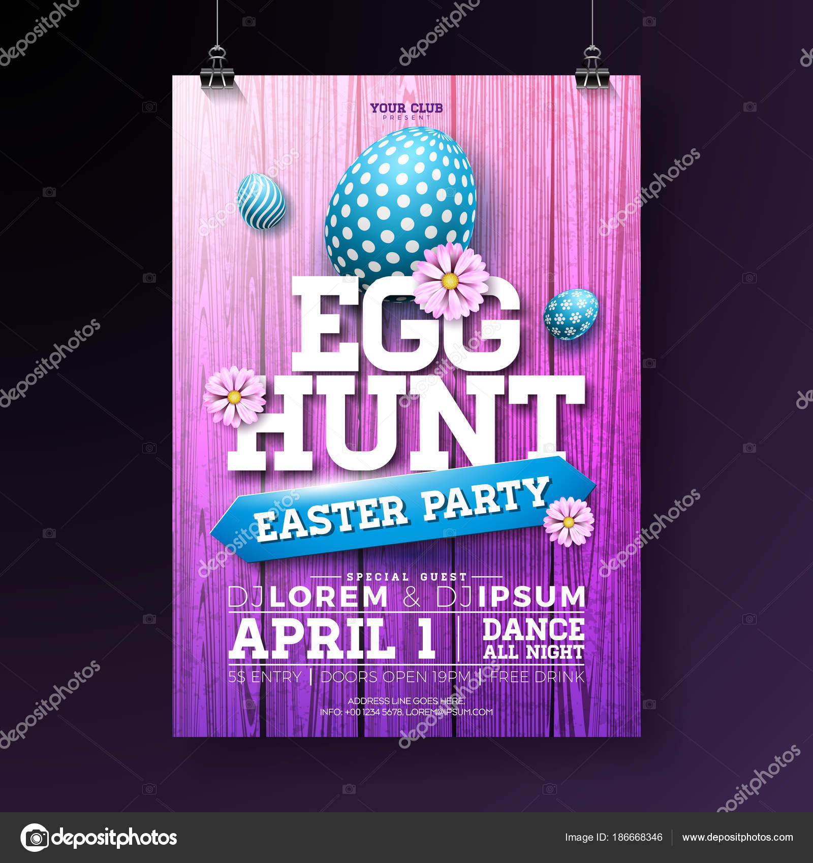 Vector Egg Hunt Easter Party Flyer Illustration With Painted Eggs, Flowers  And Typography Elements On