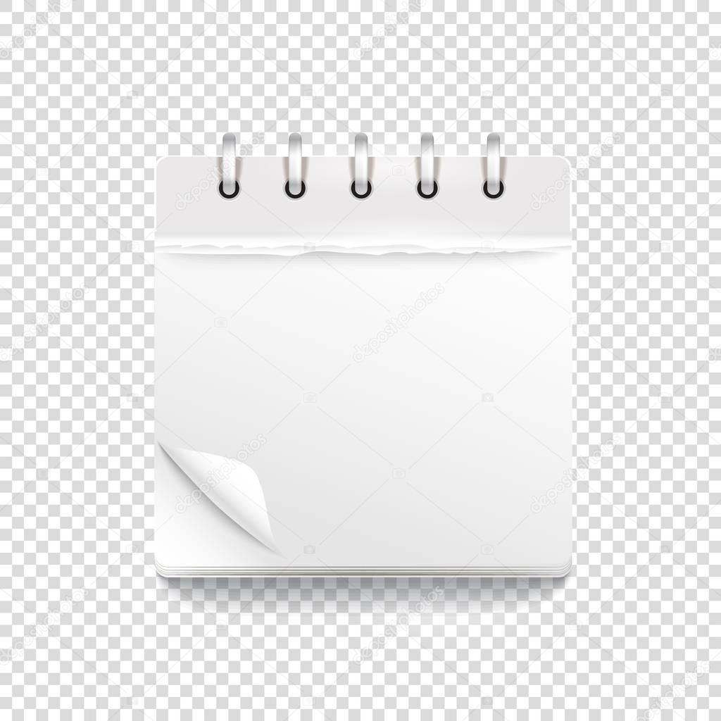 Papier-Kalender-Vorlage auf transparent. Vektor-Mock-up