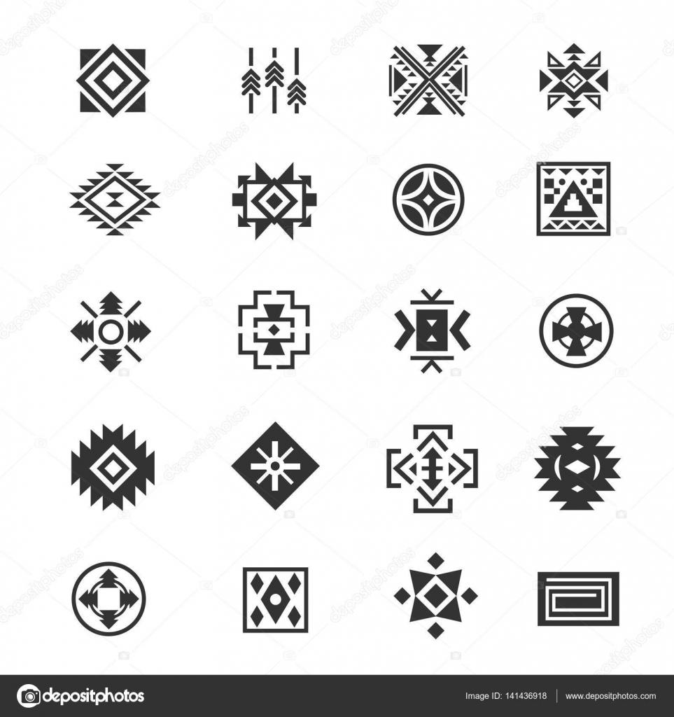 Vector Simbolos Aztecas Símbolos Mexicanos Tribales Tradicionales