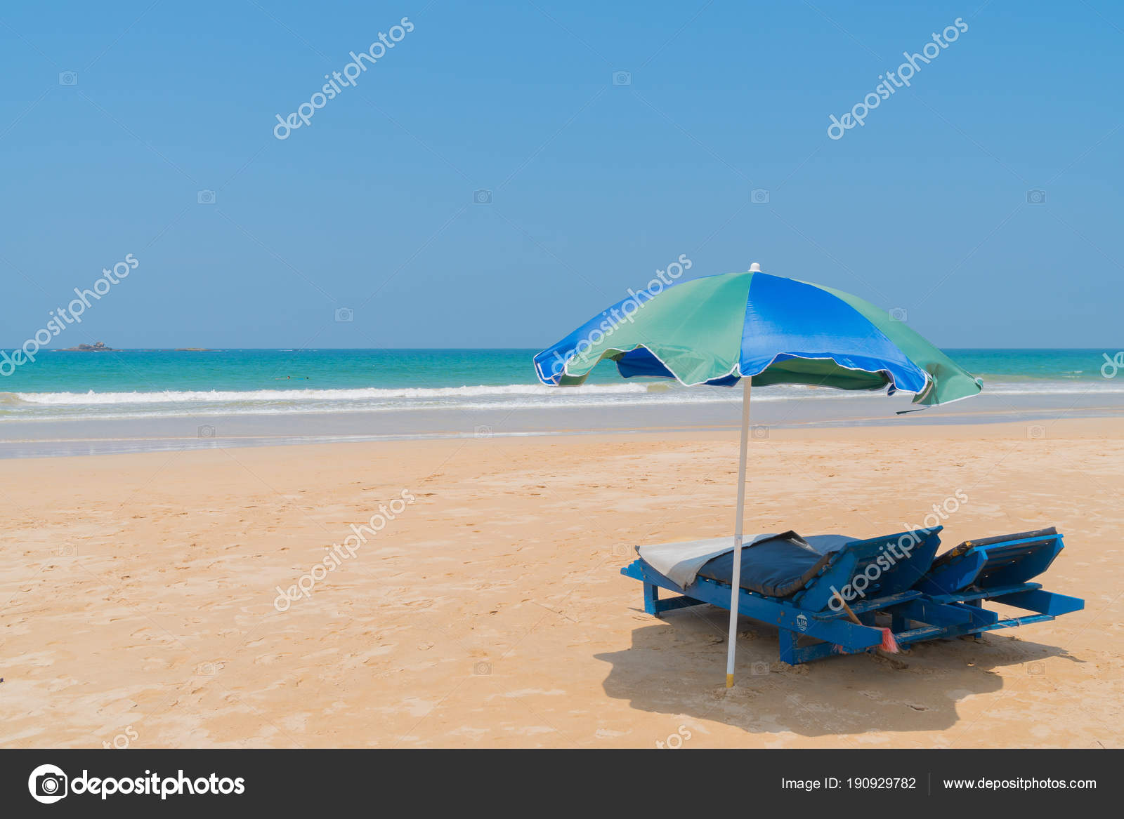 Beach Chairs With Umbrella Beach Chairs Umbrellas Stock Photo Sandipruel 190929782