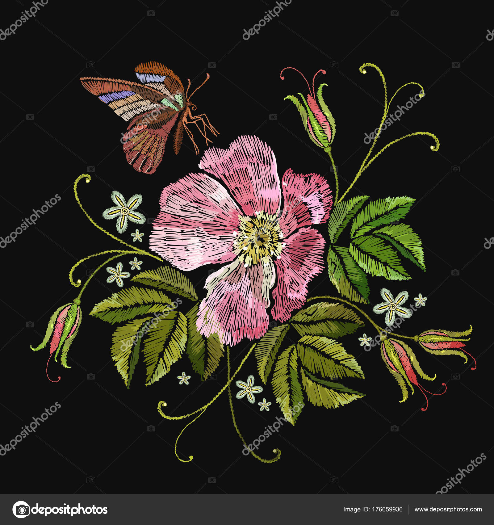 Embroidery Rose And Butterfly. Template For Clothes, Textiles — Stock Vector