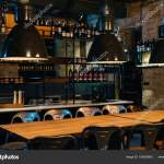 Bar Counter Design Ideas Wooden Tables Lamps Bar Counter Modern Restaurant Stock Photo C Viktoriasapata 190920842
