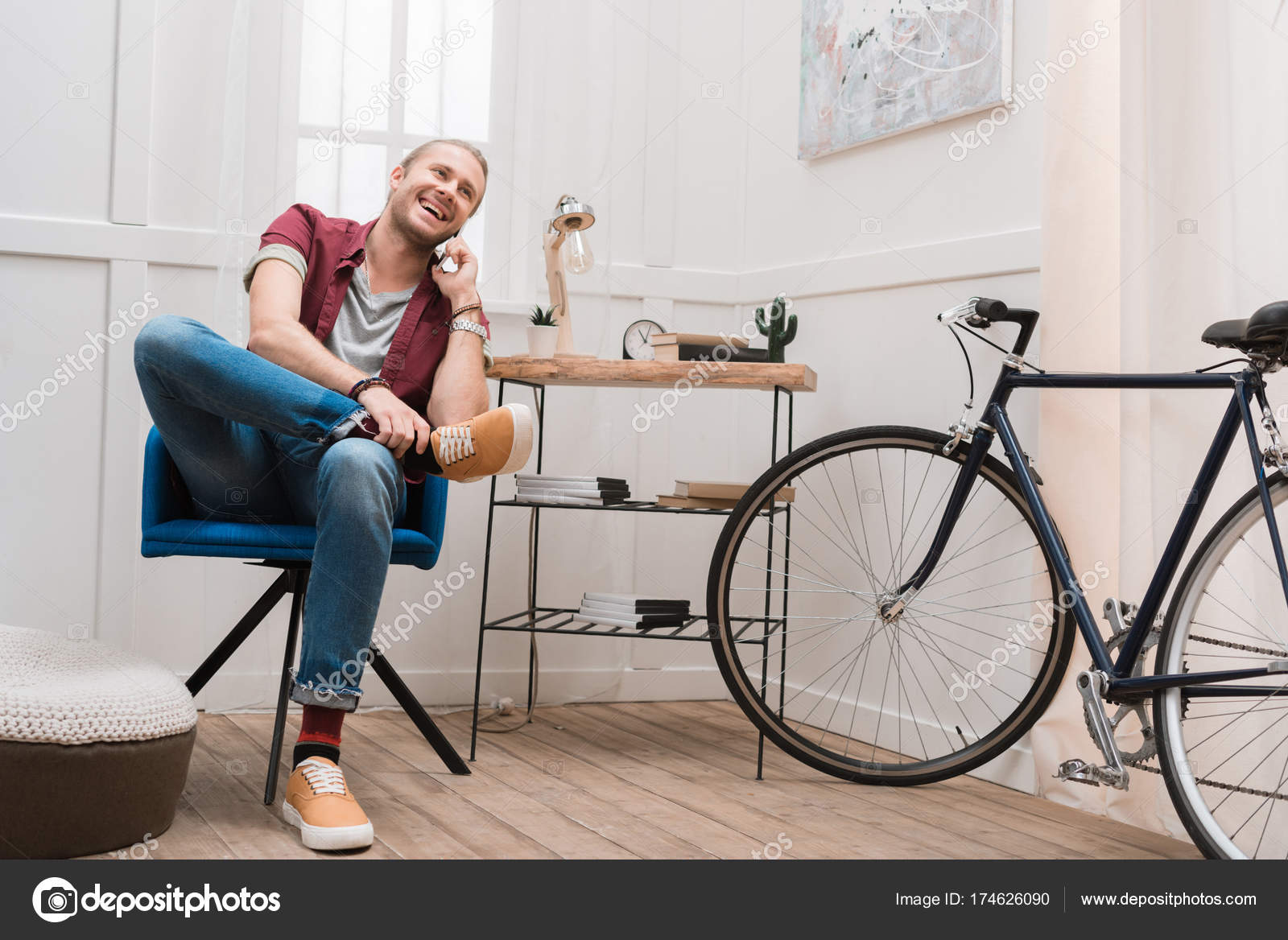 Chair Bike Smiling Man Talking Smartphone While Sitting Chair Home Bike