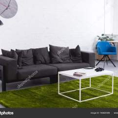 Grey Sofa Living Room Carpet Old Chairs Green Tables Stock Photo