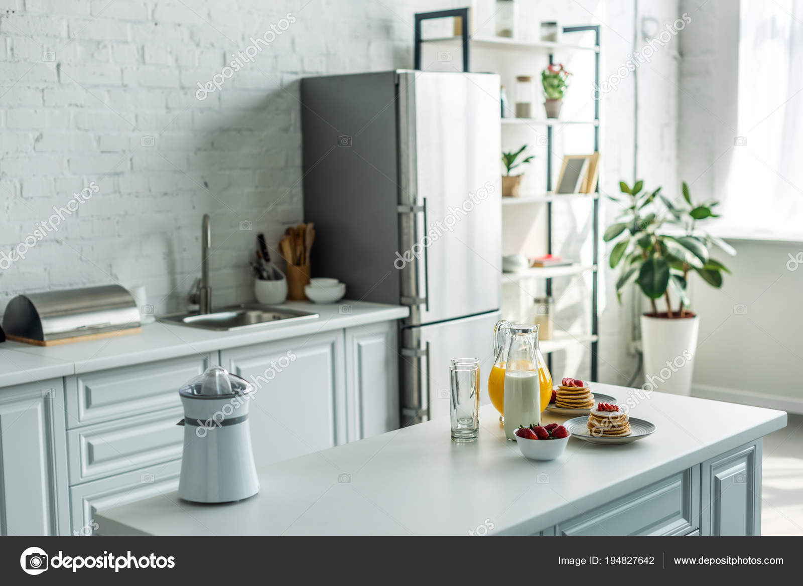 kitchen counter farmhouse industrial 现代轻厨房的内部与冰箱和厨房柜台 图库照片 c vitalikradko 194827642