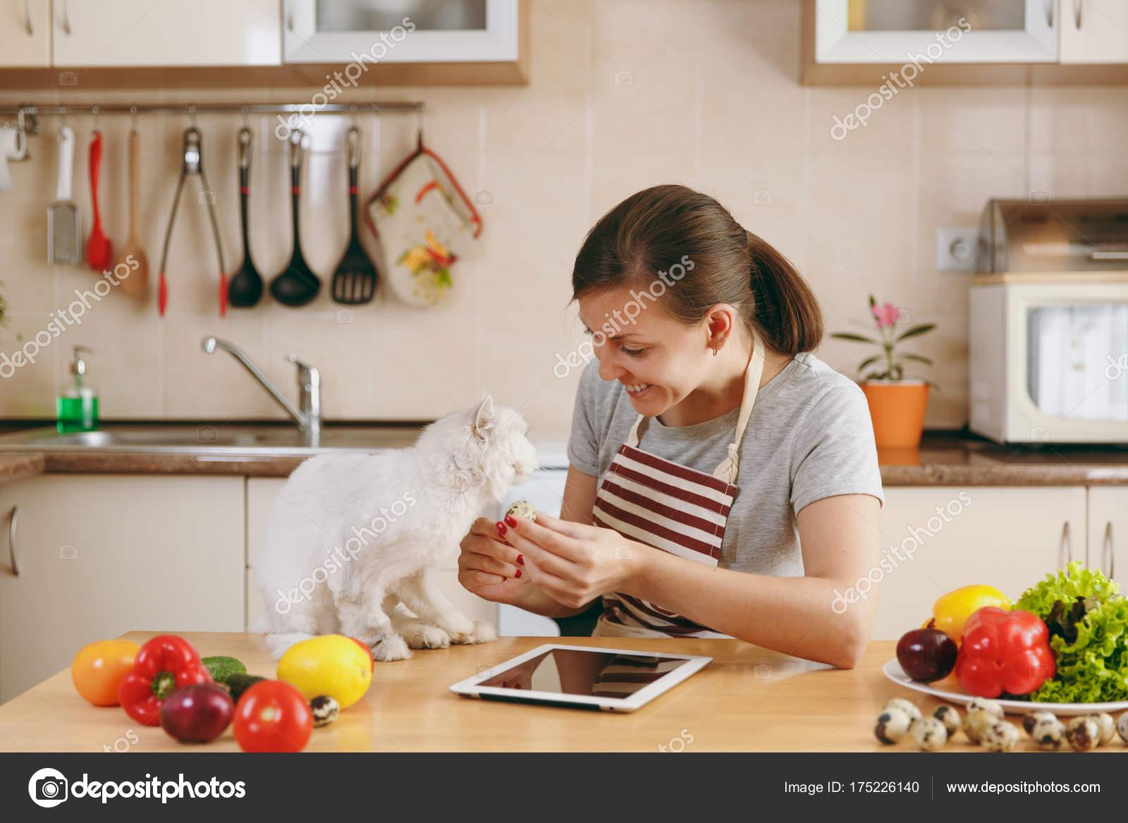 nice kitchen tables mosaic tile 一个年轻漂亮的女人与白色的波斯猫在厨房与片剂在桌子上 蔬菜沙拉 节食 那个年轻漂亮的女人带着白色的波斯猫在厨房里 桌子上放着平板电脑 节食概念 健康的生活方式 在家做饭