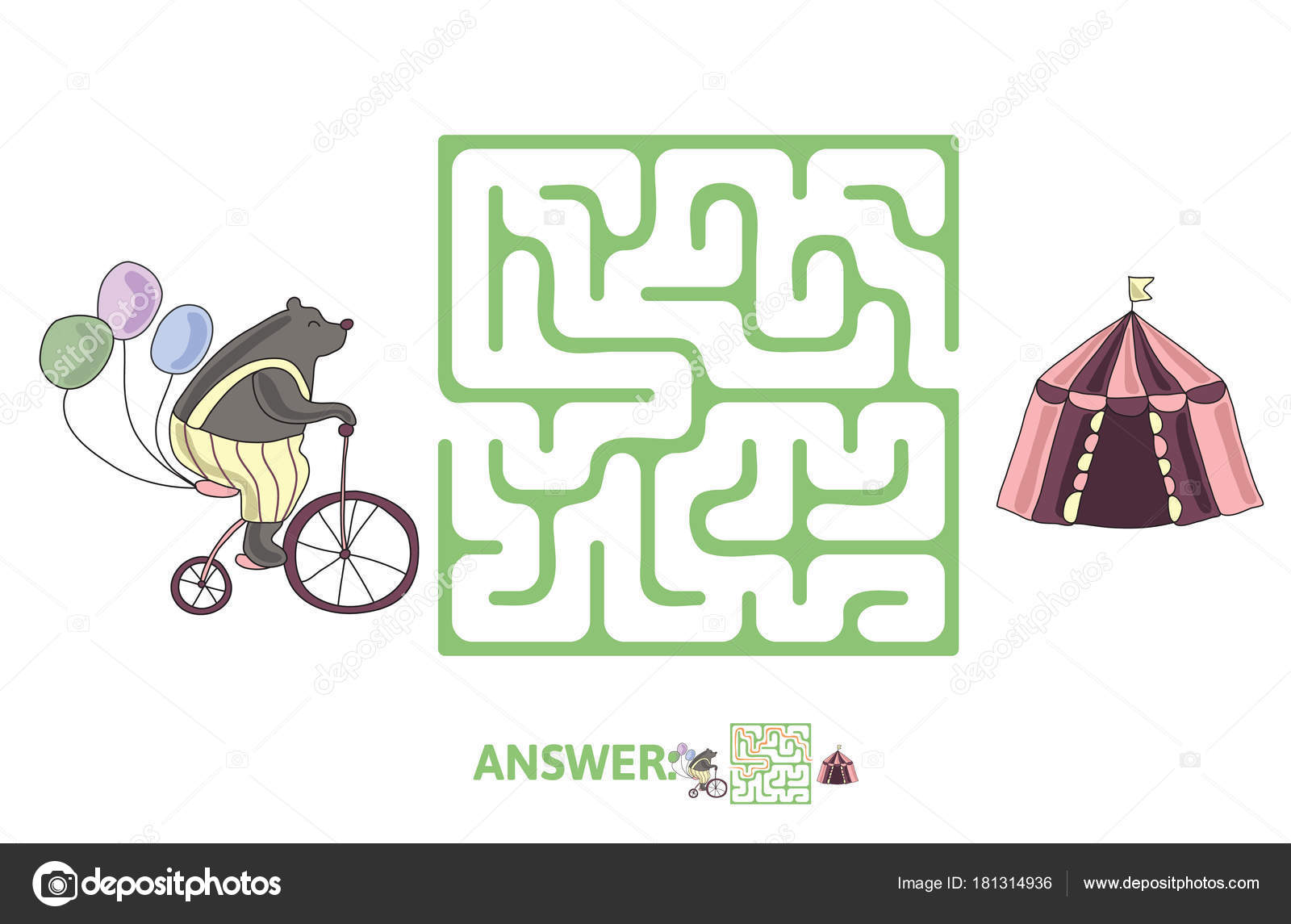 Childrens Maze With Bear On A Bike And Circus Tent Puzzle