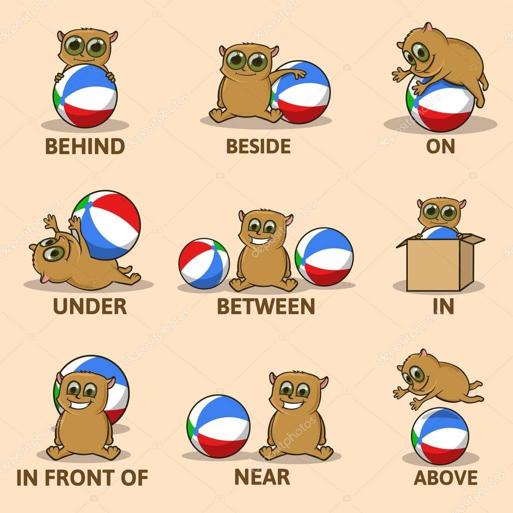 Tabela Z Przyimki Miejsca Z Zabawny Znak Zwierz Angielski Dla Dzieci Wizualne Materia Y