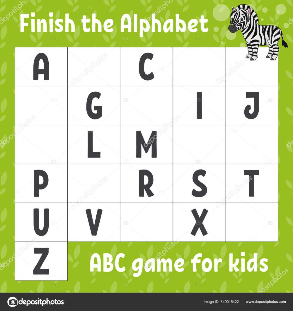 medium resolution of Finish Alphabet Abc Game Kids Education Developing Worksheet Cute Zebra ⬇  Vector Image by © PlatypusMi86   Vector Stock 349015422