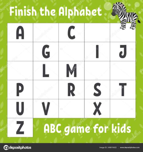 small resolution of Finish Alphabet Abc Game Kids Education Developing Worksheet Cute Zebra ⬇  Vector Image by © PlatypusMi86   Vector Stock 349015422