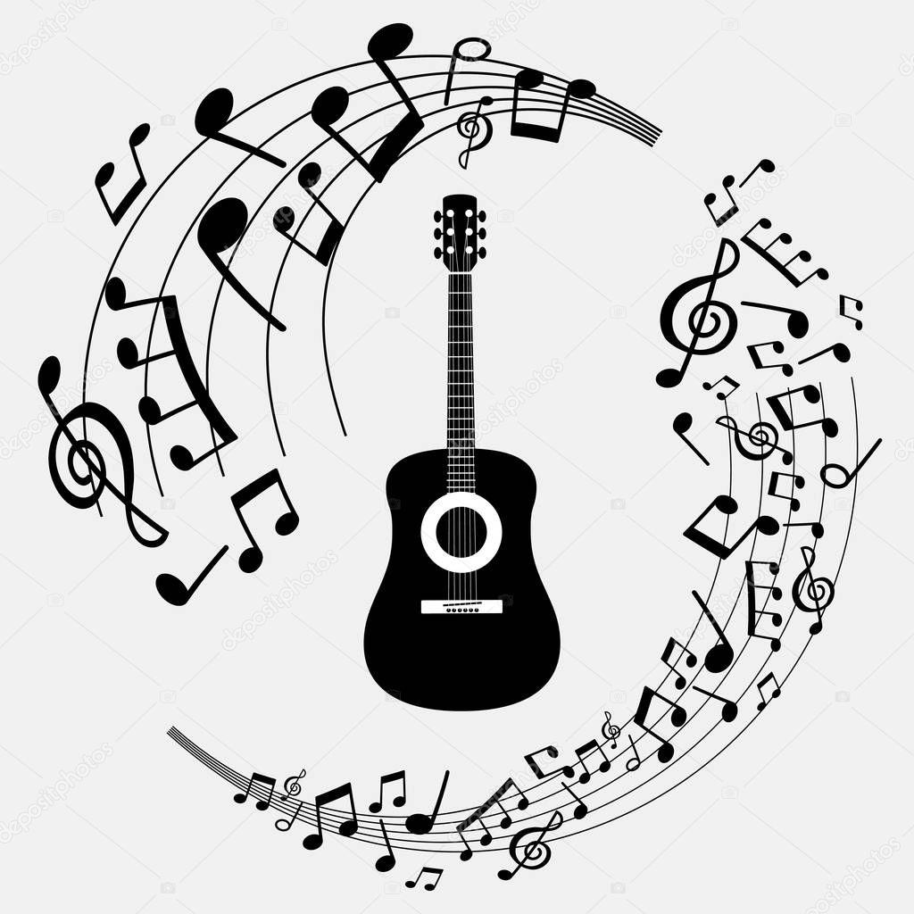 Imagenes Guitarras Y Notas Musicales