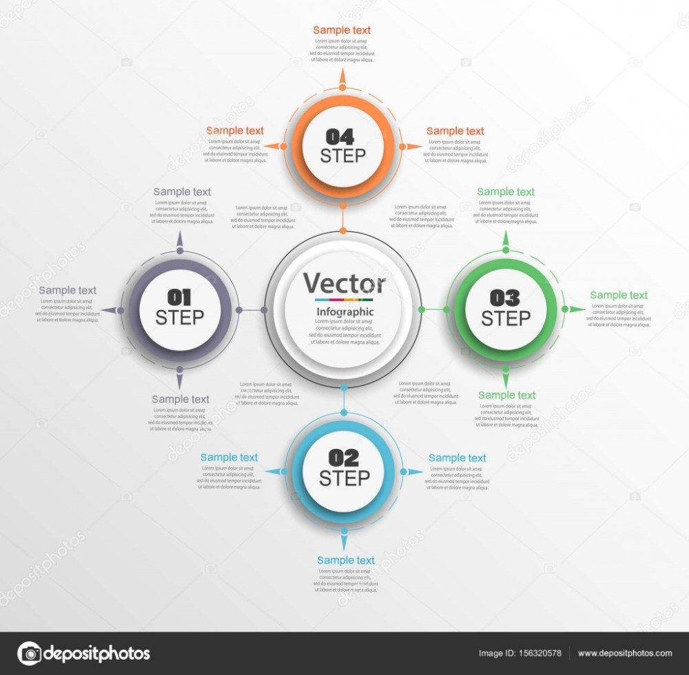 medium resolution of infographic circle diagram vector banner with 4 steps parts options template for business infographics can be used for cycle diagram round chart eps