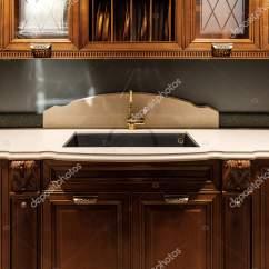 Vintage Kitchen Sink Black Granite 时尚的厨房与优雅的老式风格水槽 图库照片 C Antonmatyukha 194222044