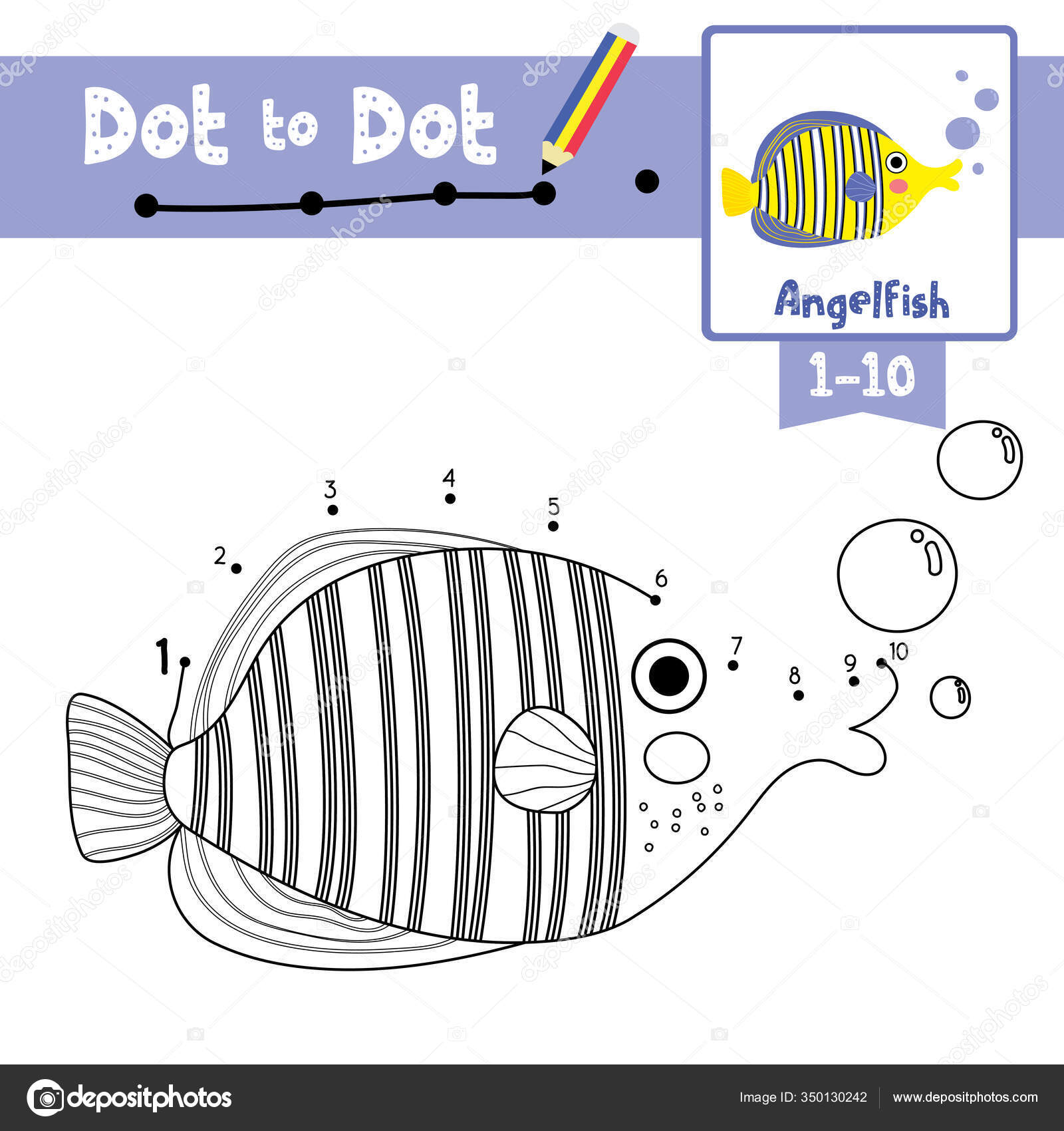 Dot Dot Educational Game Coloring Book Angelfish Animals