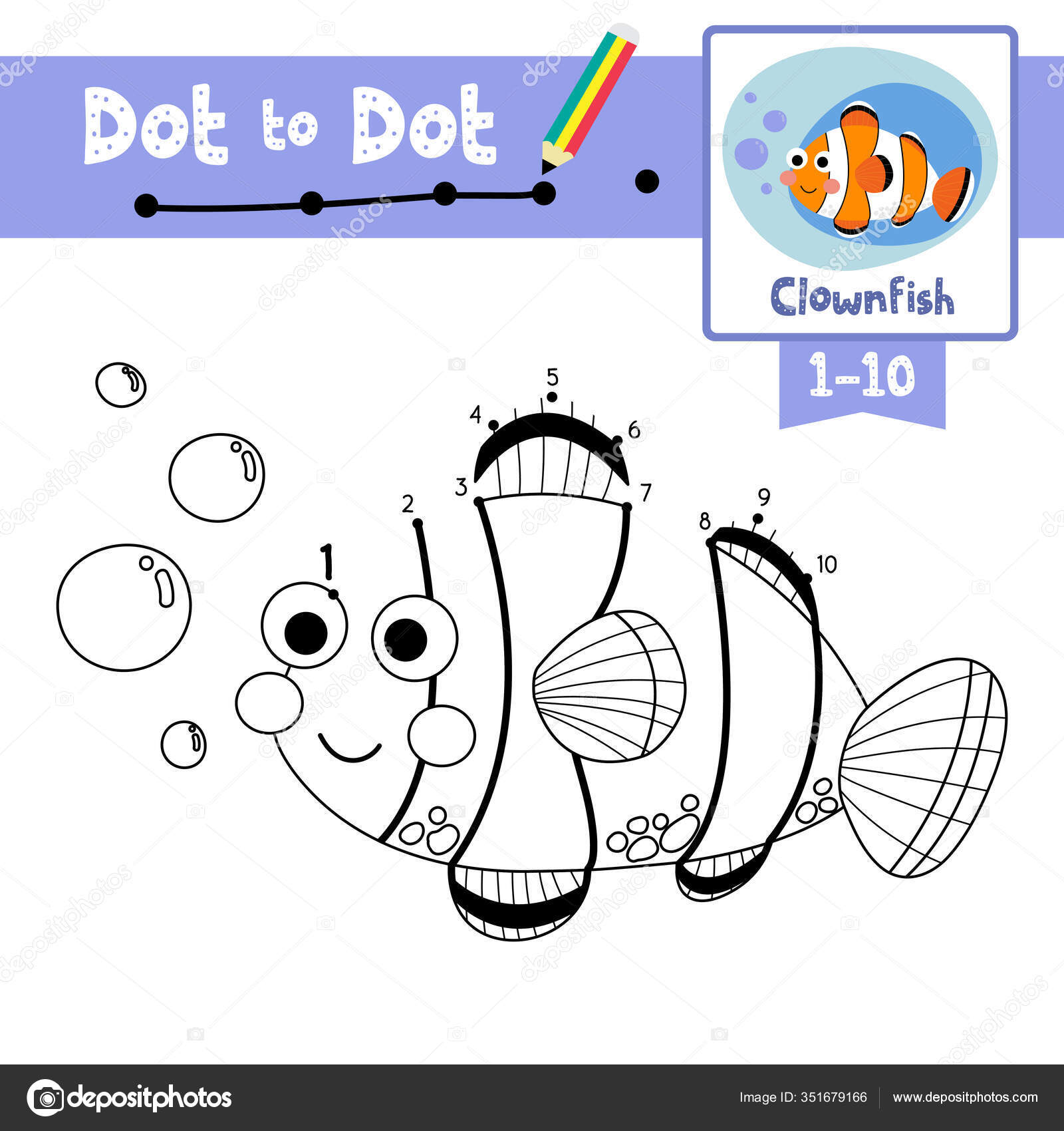 Dot Dot Educational Game Coloring Book Happy Clownfish
