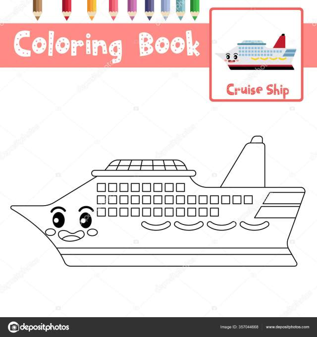 Coloring Page Cute Cruise Ship Cartoon Character Side View