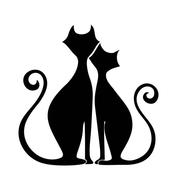 Download Black silhouette of cat. Vector illustration. — Stock ...