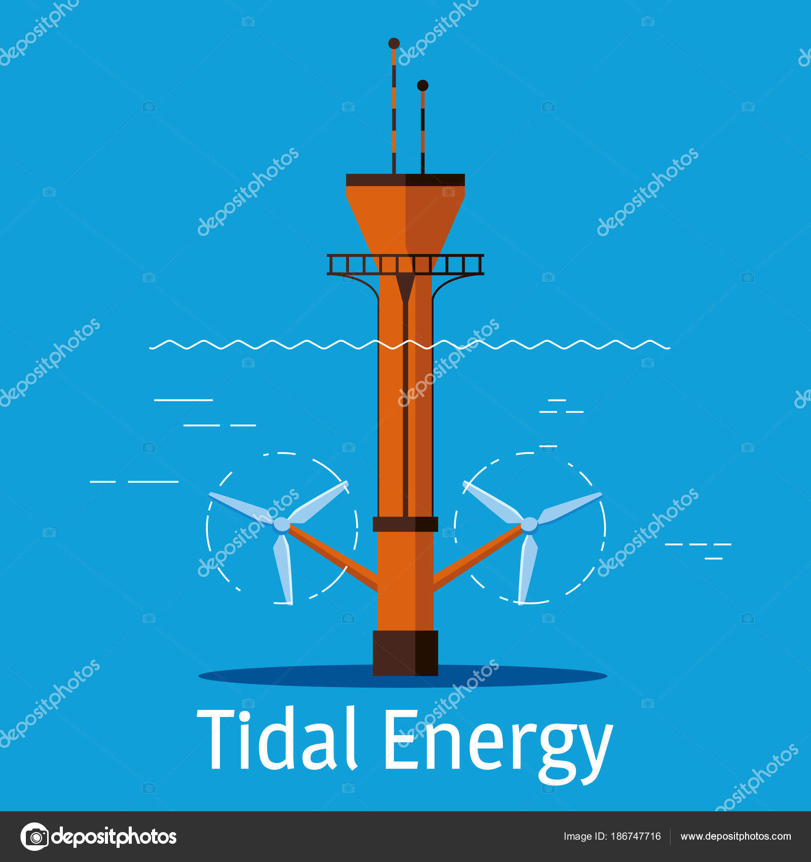hight resolution of tidal power station on a blue background tidal energy sources concept vector illustration