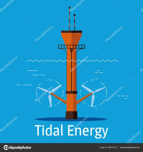 small resolution of tidal power station on a blue background tidal energy sources concept vector illustration
