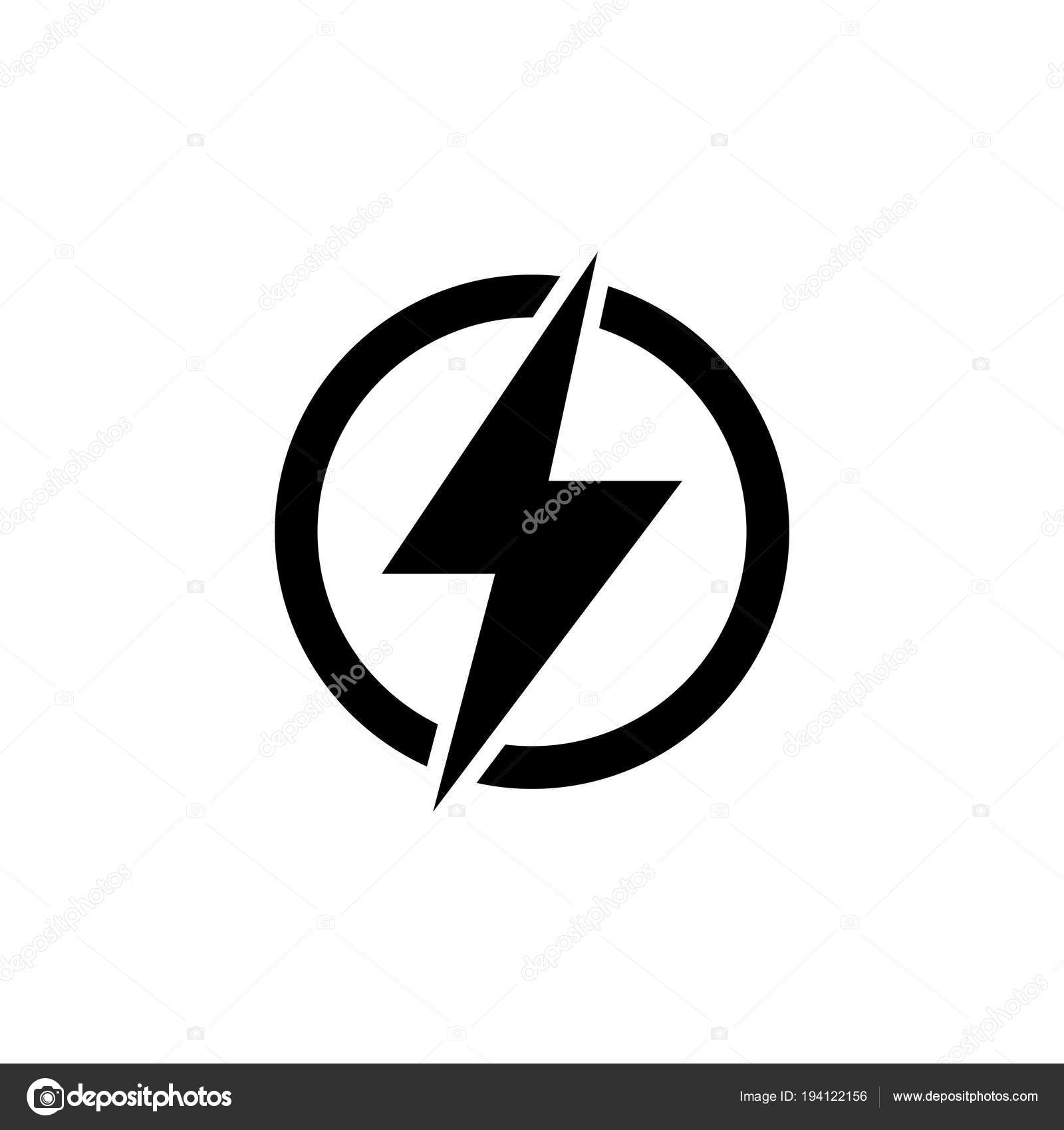 Lightning Electric Power Flat Vector Icon