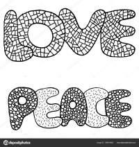 Pgina para colorear con palabra de amor y paz  Vector de ...
