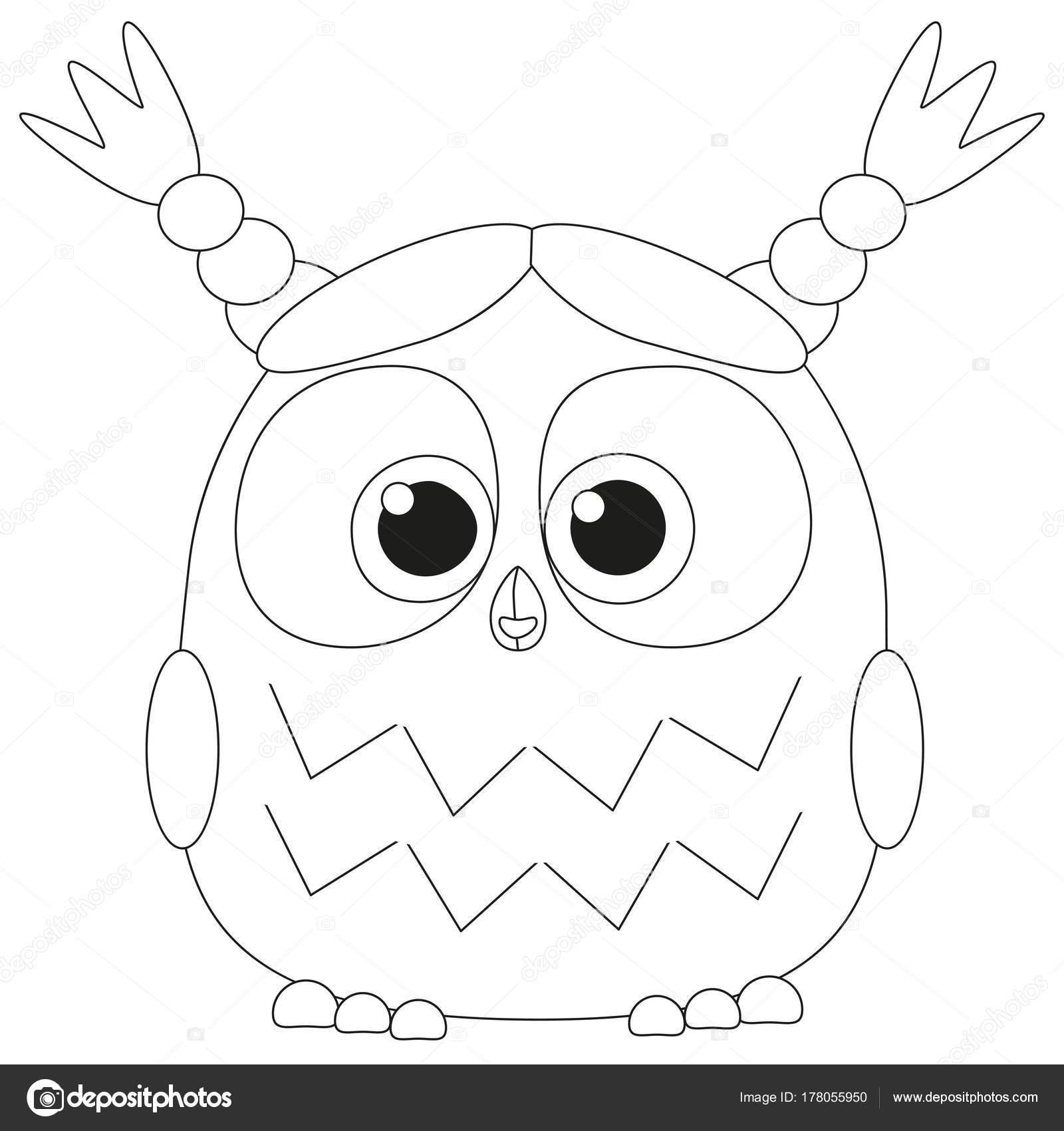 Cartel de lindo bebé niña búho blanco y negro — Vector de