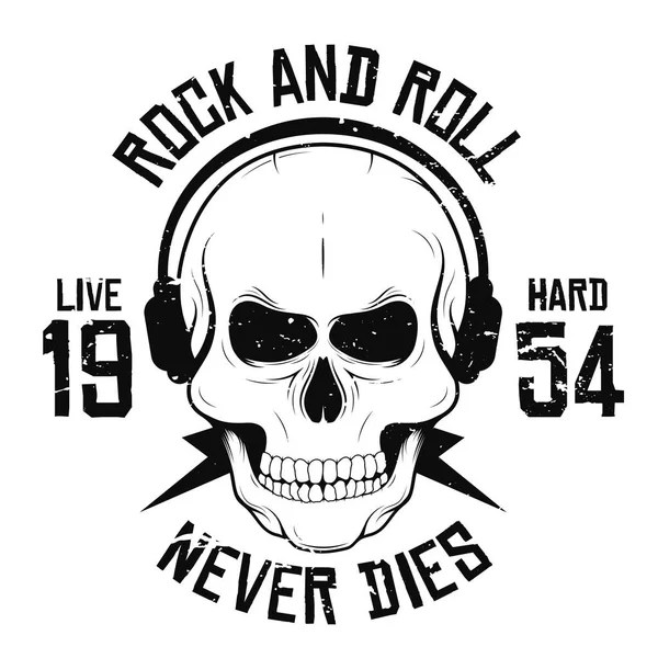 Rock music festival. Cool print with skull and headphones